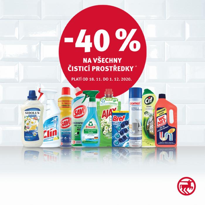Akce -40 % na všechny čisticí prostředky
