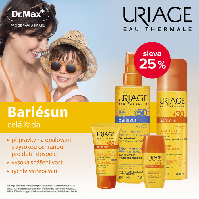 Dr.Max - akce na opalovací prostředky kosmetiky Uriage Bariesun